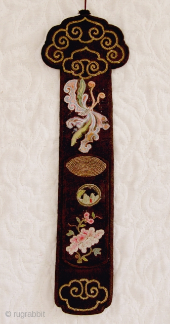 TC232    Antique Chinese fan case with intricate embroidery on each side