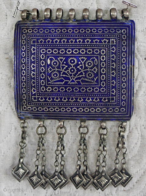Central Asian Large tribal pendant...on of set of three matching pendants worn by bridgetroom for wedding..piece is almost 5 inches across and 5.5 inches long including drops...I wear this piece hung from  ...