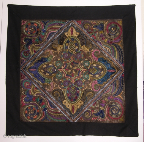 EMT 107 Miao Chinese Ethnic Minority Panel from 100 Bird Coat      This is presumed to be central panel taken from 100 bird coat from the Bai Ling area. It has  ...