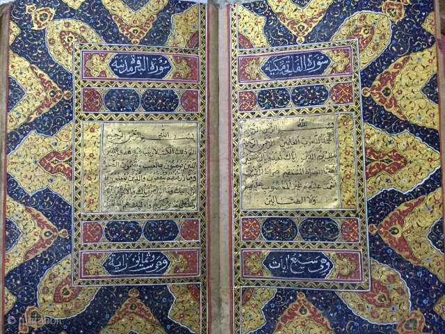 Rare ottoman quran with Mutiple illuminated pages and more than 600 shamsay . For more queries contact on mail .