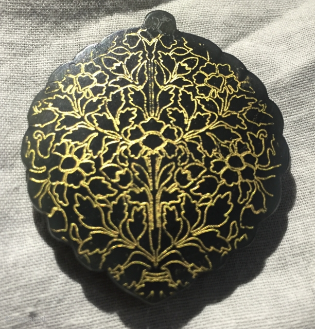 Finest quality Mughal jade pendant having hand engraved islamic calligraphy at one side and gold inlay at other side .