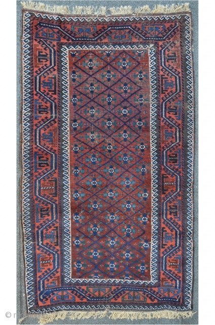 Beshir Baluch with Mina Khani design, as found condition, some moth damages, 179 x 99 cm