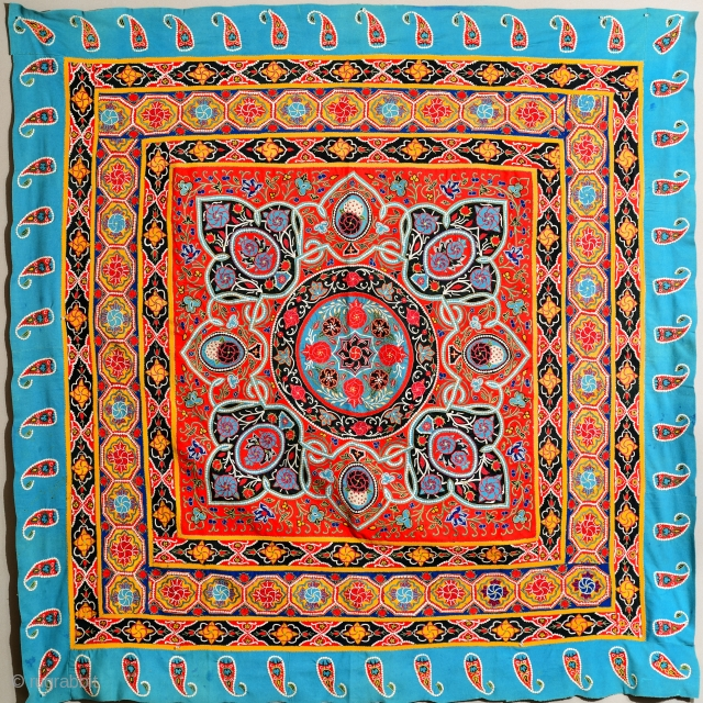 Large square Indo-Persian Resht Rashti embroidery tapestry Excellent condition. 70 x 70 inches