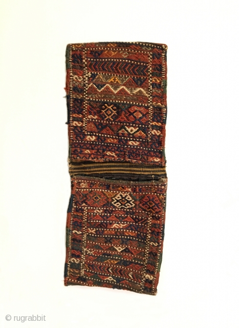 "Shahsavan Sumak Khorjin. Late 19th Century. Complete khorjin saddle bag set. Colorful and tribal. Mint condition considering age. Original selvage. 9 colors. 2'3"" x 0'10"". Delicately hand washed."
