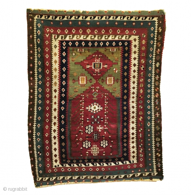 Antique Turkish Reyhanli Prayer Kilim. SE Anatolia. 2nd Half 19th Century.  Extremely Rare with an exceptionally tight and fine weave, compares with Persian Sehna work.   Minor loss to top  ...