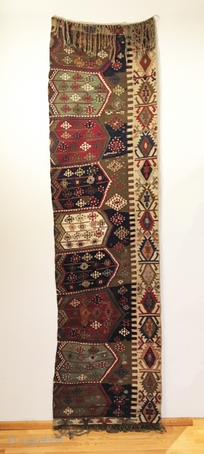 Antique Anatolian Aydinli Kilim Half. Early 19th Century. Konya Region. Beautiful wall art piece or runner. Stunning stacked medallions with great use of color throughout. Wool foundation with cotton in the field.  ...