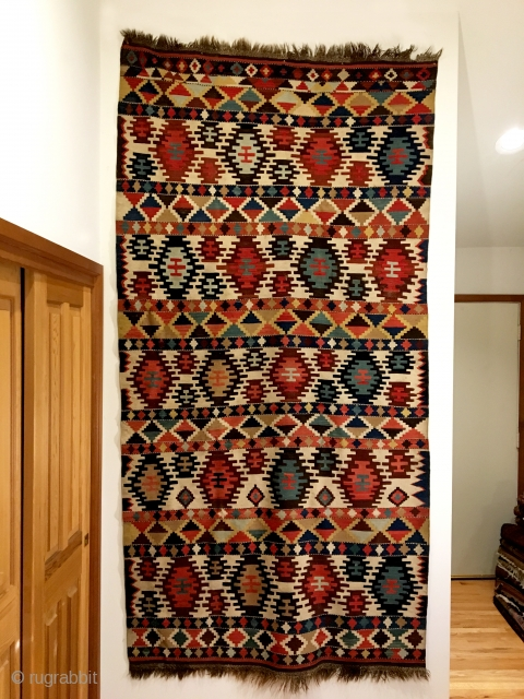 "Antique Shirvan Kilim.  2nd Half 19th Century. 5 rows of stepped hexagonal medallions on ivory field.  Original macrame ends.  12 colors.  9'2"" x 4'7"".  Delicately hand washed.  ..."