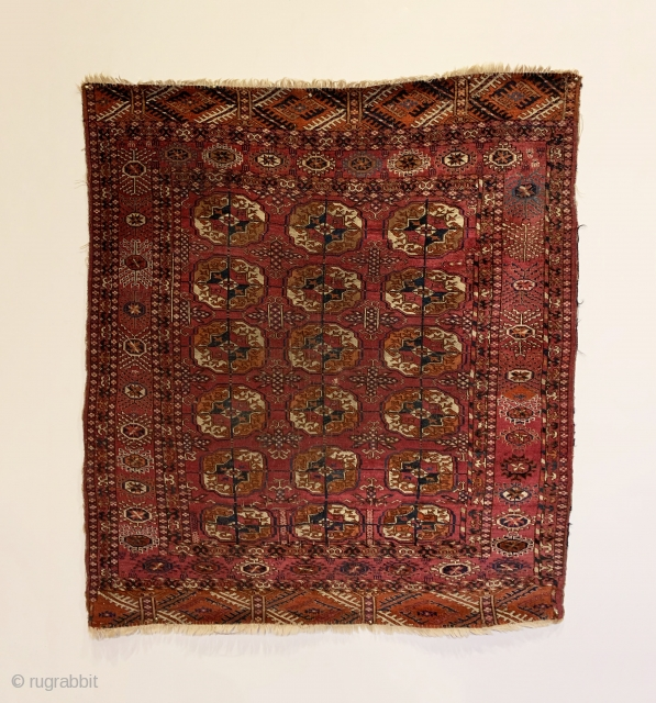 """Antique Tekke Small Rug. Late 19th Century. Possible ceremonial or wedding piece. All saturated colors with old yellow, cochineal and madder throughout. Original condition with bits of original selvedge. 8 colors. 4'0""""  ..."""