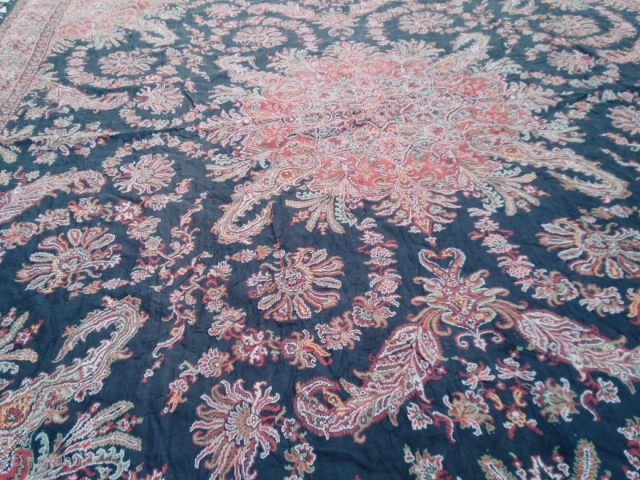 Antique 1870-1880c French paisley moon shawl, in black base multicolours' 