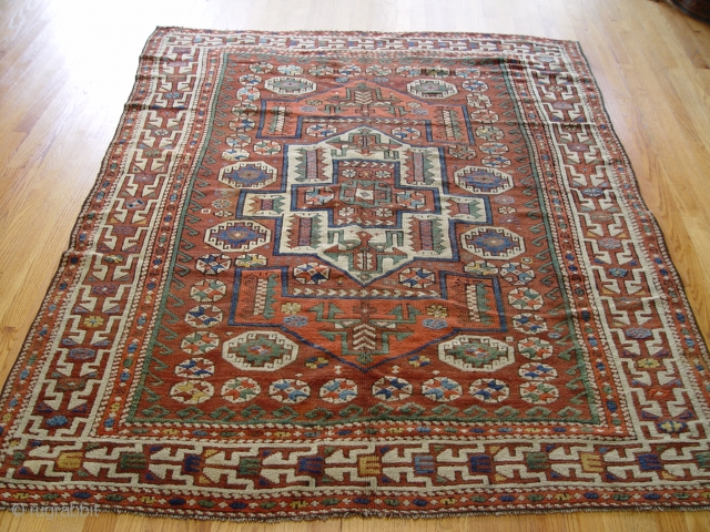 "Antique Bergama Turkish rug, 5' X 6.8"", 100% wool pile/warp/weft, circa 1860-1870, binding redone and minor re-knotted areas,"