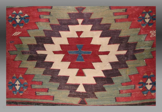 Anatolian Kilim Fragment, Karapinar Region, 19th C.