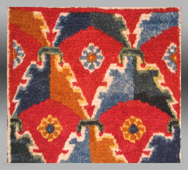 """""""Khaden"""", Tibet, 19th Century, approx. 2'10"""" x 4'8""""  While Tibetan rugs are, for the most part, 'colorful', few include the saturation and quality of dyeing seen in this particular example.  The design type is  ..."""