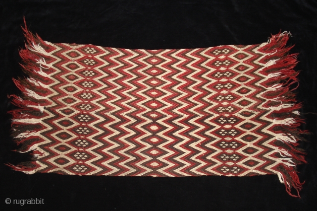 Saddle pad. split ply twining.  20 x 43 inches late 19th/ early 20th century Tibet