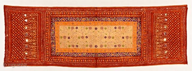 Superb silk, tie-dyed Palembang shawl, Sumatra. around 1900. item S47. Size:225x75cm. some corrosion. visit www.tinatabone.com