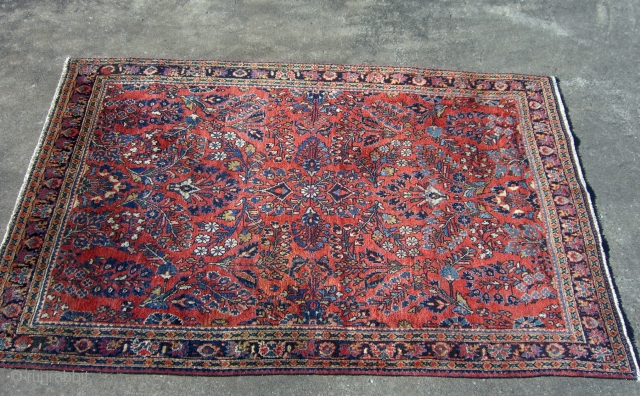 """Beautiful Sarouk in excellent condition.  Measures 3'4"""" x 4'9"""".  Selvages original and in very good condition.  A couple of rows of knots missing at both ends but ends are  ..."""