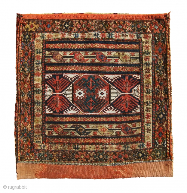 Original, antique Shasavan sumac bag. lovely piece, No repair on the bag some repairs at the corner of the back killim.