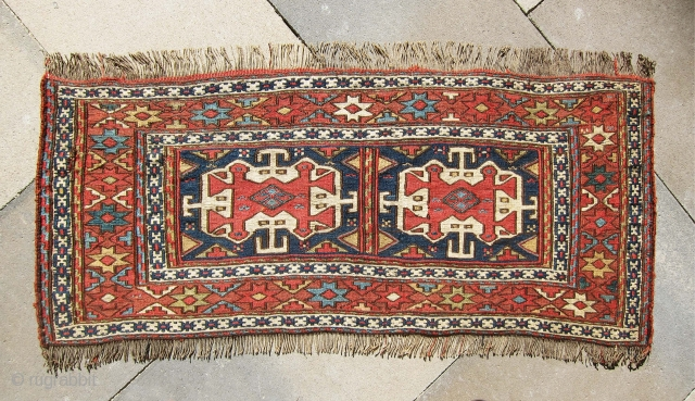 """Another very old and unique sumac panel from Shahsavan region, great and bold design, size 3'-2""""x1'-7""""."""