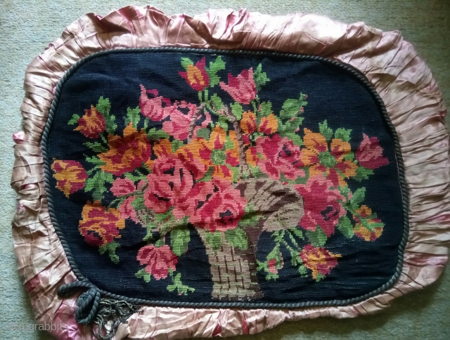 Pillow French or European imperial embroidery, silk on linen, no: 417, size: 53*38cm.
