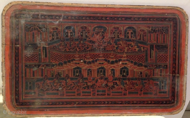 Antique Large Square Burmese Lacquer ware Serving Tray.  This lacquer serving tray from Burma (now called Myanmar) depicts has a central medallion with a mythical Burmese creature.   Size: 1.1/2 x 29 x 47  ...