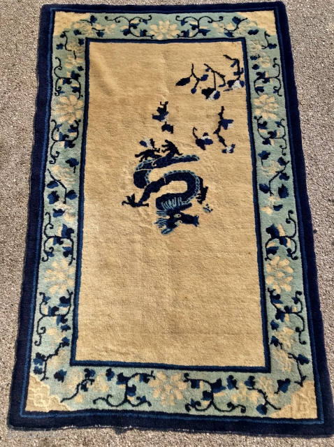 antique  Chinese peking dragon  Rug  cm 1,40 x 090  circa 1910  full pile good  condition