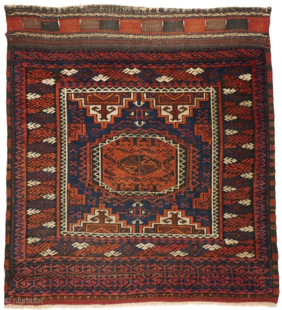 """This is one highlight of our current exhibition """"Spring Awakening"""": # 1143 Baluch (Salar Khani?)Khorjin Front, 72/79 cm, Khorasan, late 19th century, rare bag design, interesting borders, in very good condition!  For  ..."""