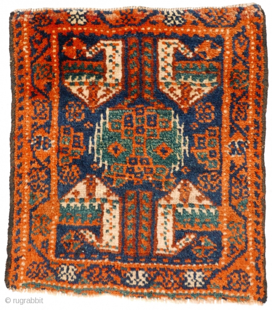 # 1122 Rare Kurdish Khorjin Front, 42/47 cm, Varamin area, last quarter 19th century, very interesting central motif, beautiful natural dyes, soft silky wool, min. reduced in length! For a complete overview  ...