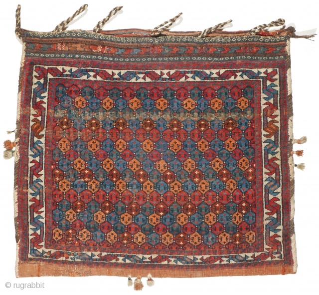 # 1104 Rare Afshar Khorjin Half, 72/63 cm, Varamin area, late 19th century, minimalistic field design, attractive natural dyes, fair pile, min. resto., now in good condition! For a complete overview of  ...