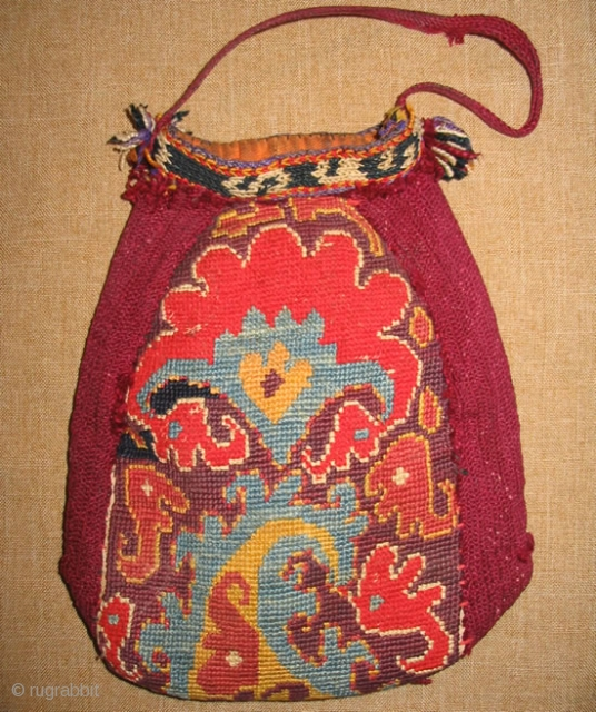 """Rare antique Uzbek Lakai money bag, late 19th, in excellent condition, natural dyes, nice embroidery. Size is 7"""" x 5.5""""."""