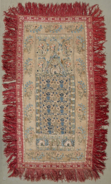 Beautiful antique Ottoman Greek or Epirus embroidery arched prayer panel known as a quibla. It is composed of various antique Ottoman embroideries, which are probably from the 18th and 19th centuries, in  ...