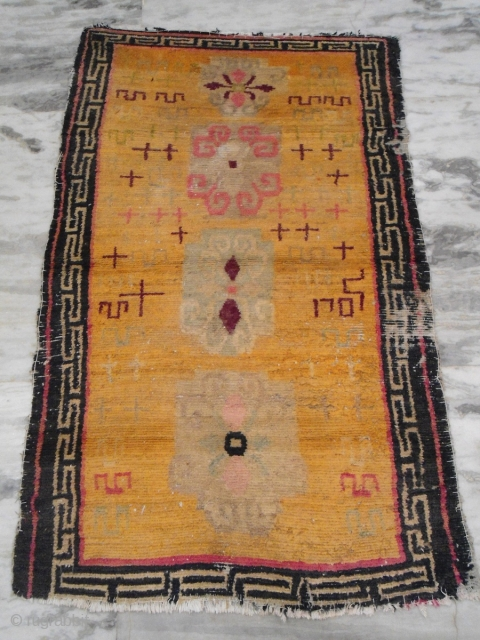 Antique Tibetan rug 2 ft 11 inches x 4 ft 9 inches worldwide shipping $45
