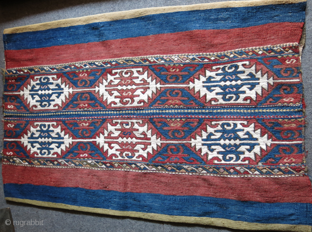 """Taurus Mountains tribal large size cloting sack, sumak weave, mostly good colors and great condition, no repairs Circa 1900-1920s size:  53"""" X 35"""" - 135 cm X 88 cm"""