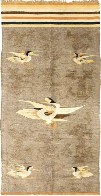 So-called Gansu-kilim. When describing an almost identical ink painted kilim-like tapestry in the highly recommended book Early Carpets and Tapestries on the Eastern Silk Road (by Glorian Gonick; 2015) the authour states  ...