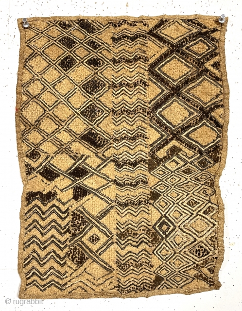 interesting older little kuba cloth. Charming design, looks like a sampler. As found, unmounted. about 14' x 18""