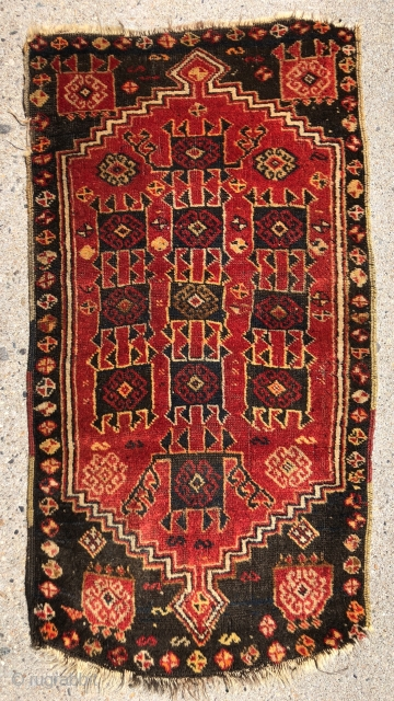 Antique Anatolian yastik. Interesting folky tribal design. Mostly full pile with original selvages. Ends unraveling. Somewhat odd palette with vibrant yellow and orange highlights. I see no dye run. As found, could  ...