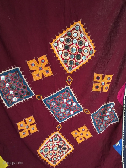Beautiful vintage handmade shawl from the Banjara gypsy tribe - not seen very often. Large mirrors & applique work. More details here: https://wovensouls.com/collections/weekly-flash-sale
