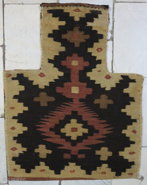 Saveh Shahsavan Salt bag Kilim beautiful design wool on wool age: about 90 years it was repaired size:50 x 39 price:POR