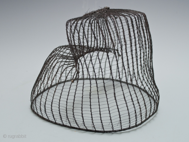 """Horsehair Hat, Korea. 22"""" (56 cm) in circumference, 5"""" (12.7 cm) high Late 19th to early 20th century Ex Fifi White collection, California  These hats were worn by noblemen to contain their hairdo beneath a  ..."""