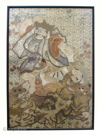 Japanese Woven Textile Of Ebisu and Daikoku