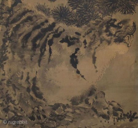 Japanese Painting of Tiger and the Moon   Antique Japanese painting of a tiger crouched on a rock, his eyes are turned toward the full moon which shows itself through the branches of a  ...