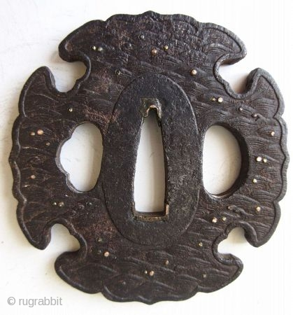 Antique Japanese Iron Waves Tsuba