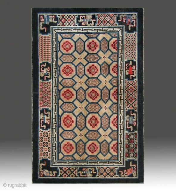 "No.M09 * Chinese Antique ""Turtle Back Design"" Rug , Age:Late 19th Century.
