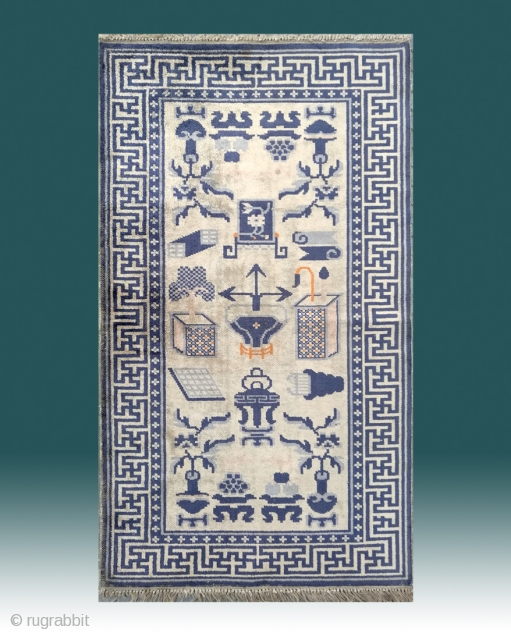 "No.M77 * Chinese Antique Silk Rug .Origin: Baotou.Size: 69x120cm(2'3""x3'11""). 