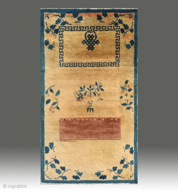 """No.X0002 * Chinese Antique Beijing Rugs """"Door Curtain"""". Age:19th Century. Size: 78x138cm (31""""x54""""). Origin: Beijing Shape: Rectangle.Background Color: Camels."""