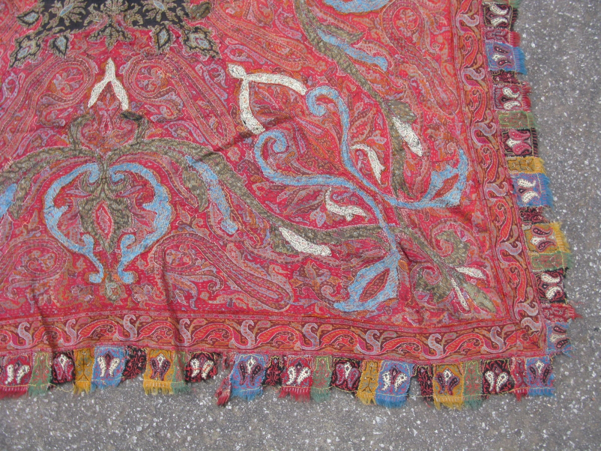 Antique Shawl Hand Woven Cashmere Goat Wool Kashmir