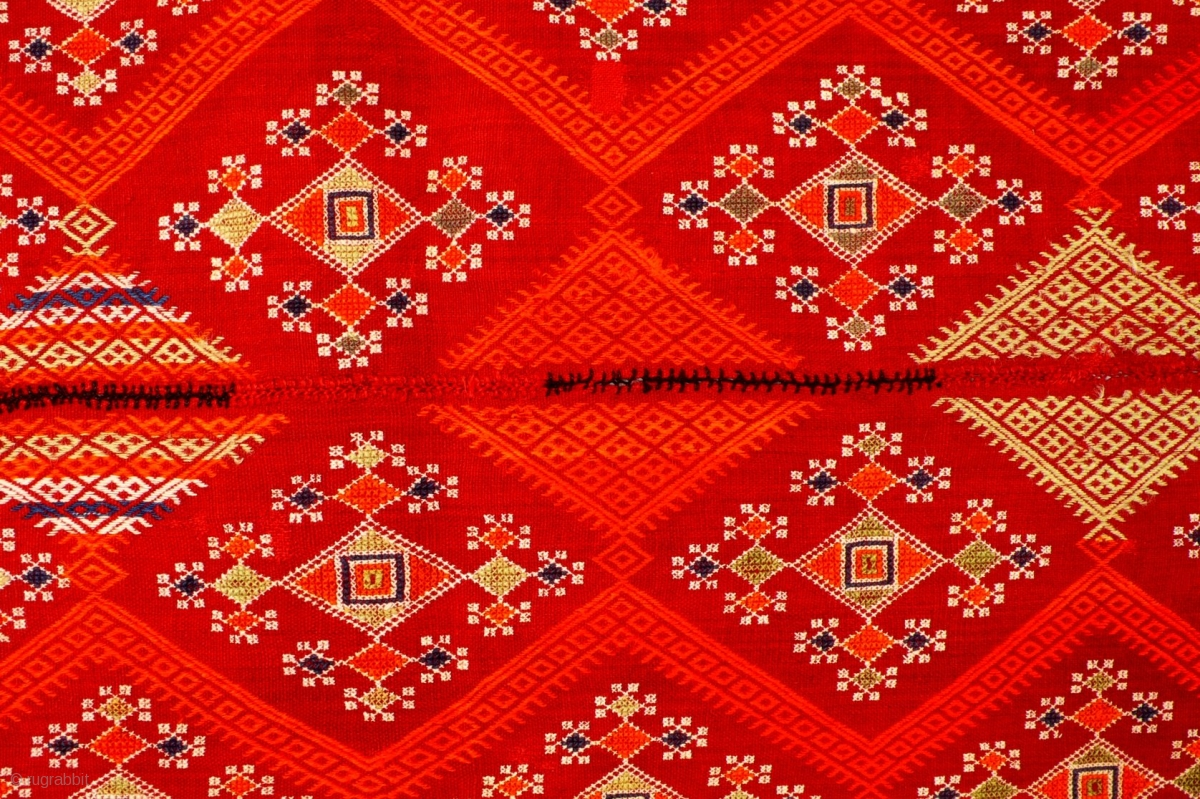 Odhani Embroidery On Fine Red Handwoven Cotton Cloth