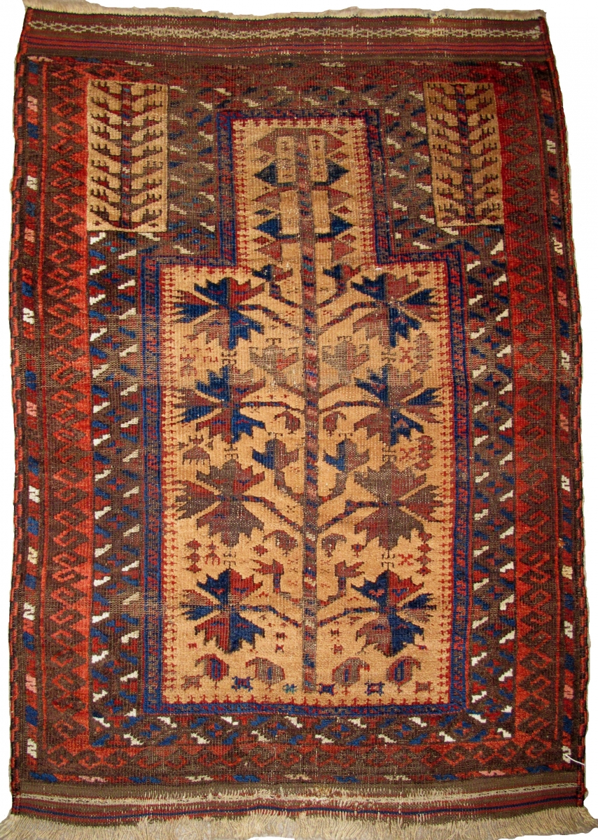 Small Camel Ground Baluch Prayer Rug Elegant Drawing And Saturated Colors Complete With Sides