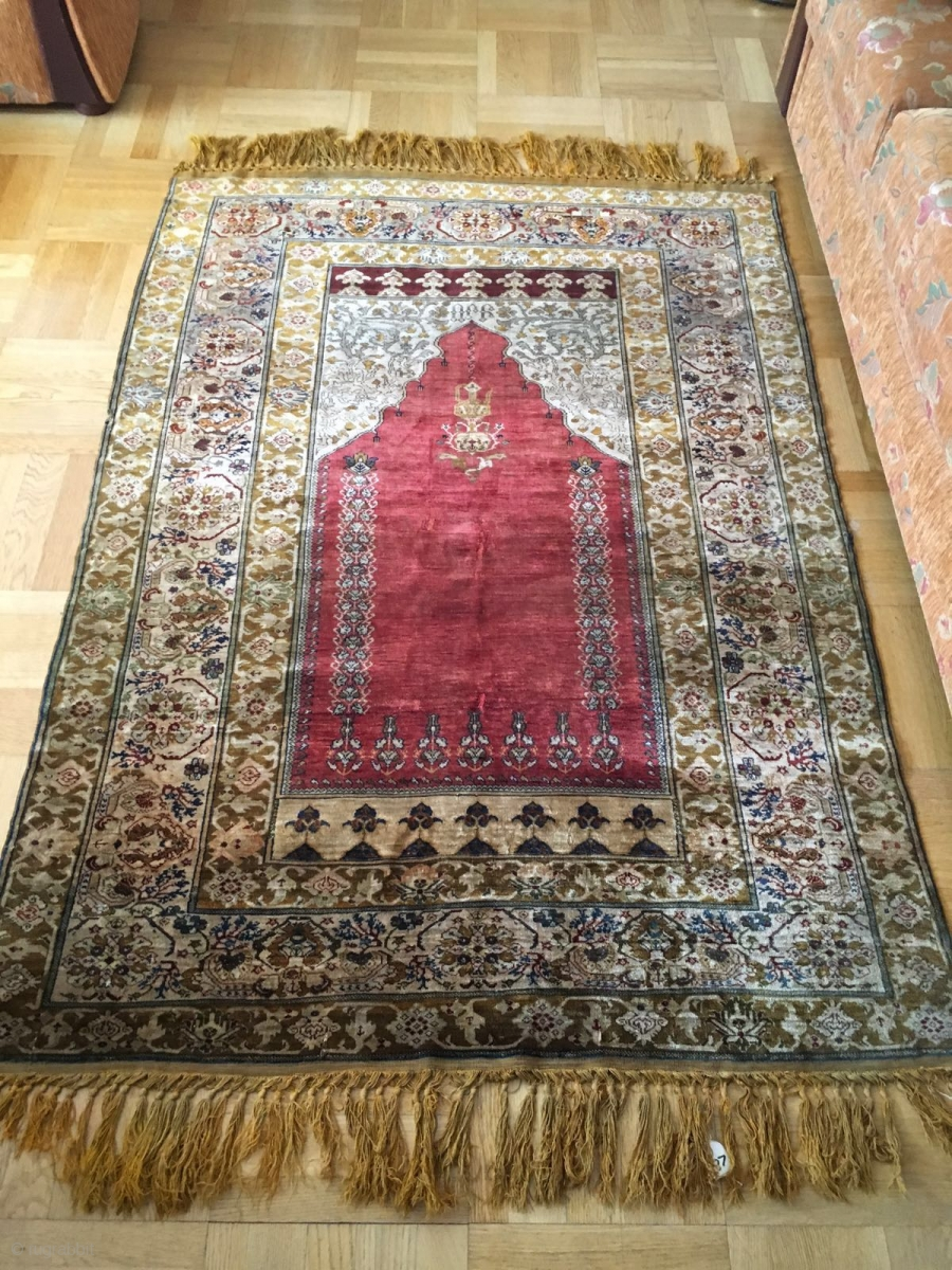 Turkish Armenian Full Silk Prayer Rug C 1850 1900 Signed In