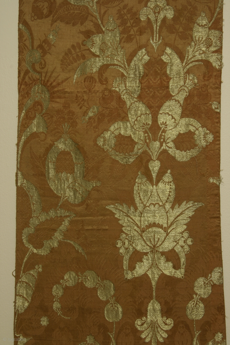 Silk Brocade Fabric Panel With Metallic Gold Thread Of So