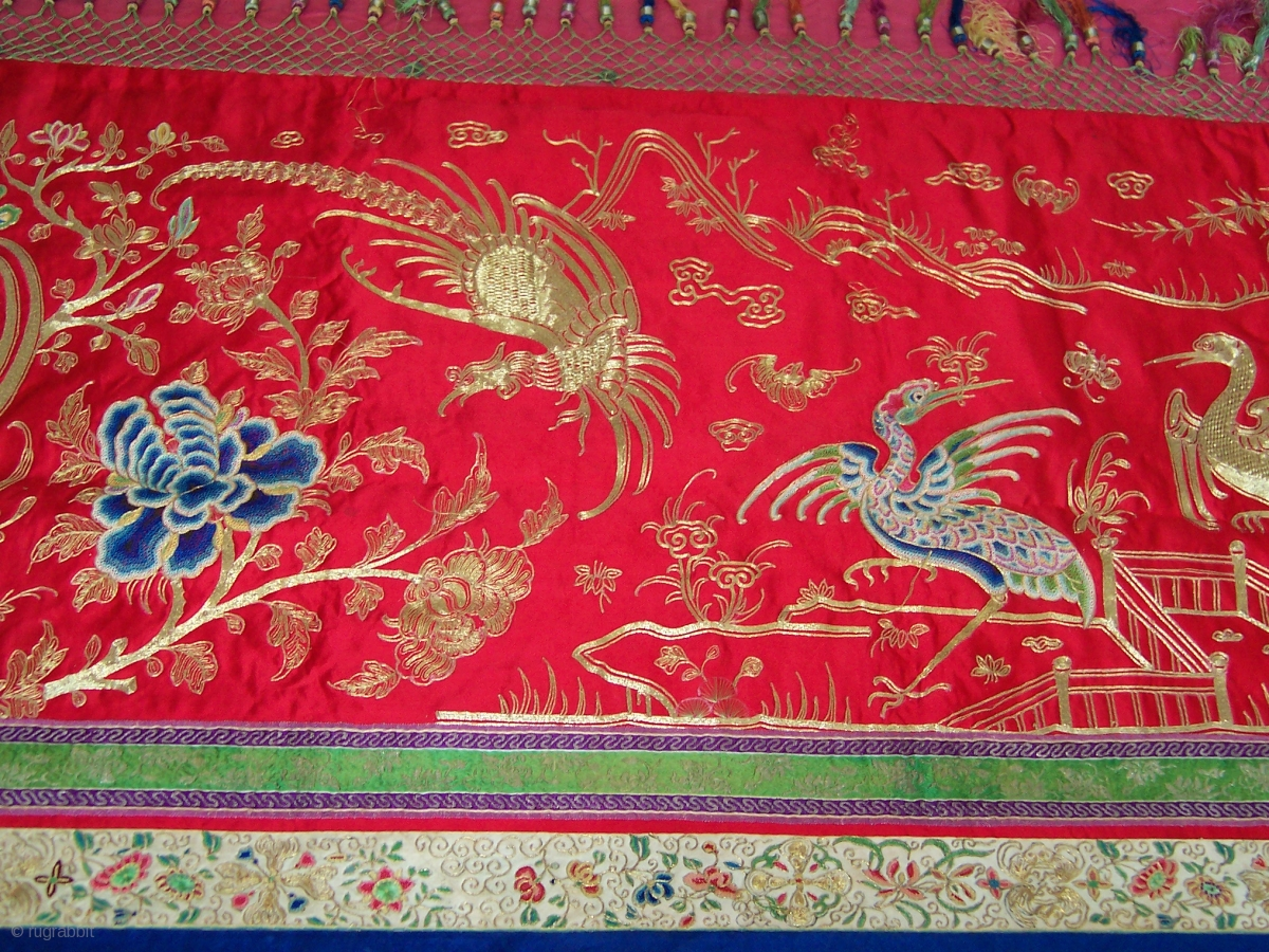 early 19th century chinese gold thread embroidery tapestry