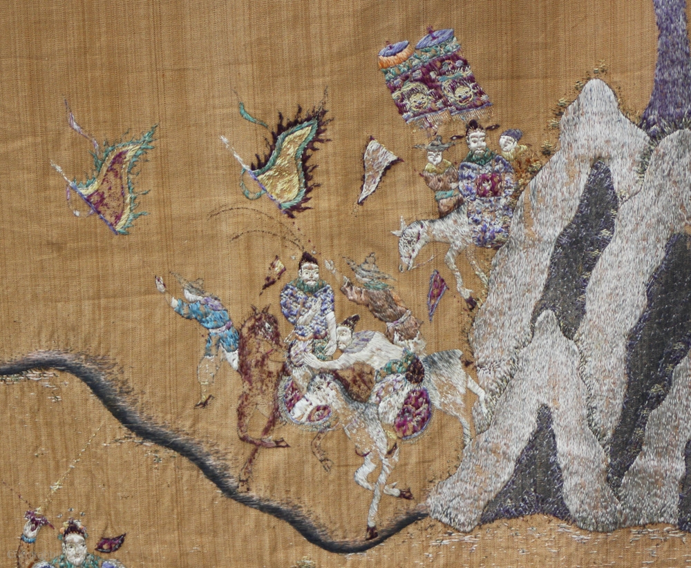 Tc375 This Antique Chinese Silk Textile Wall Hanging Is Embroidered With Mounted Solrs Carrying Banners Across